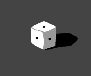 a die with one on all sides grey background