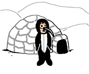 igloo and man dressed as penguin