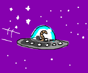 Worm-shaped alien flying in a spaceship