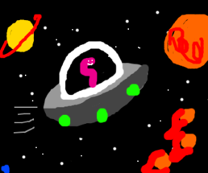 a worm fliyng in a ufo through the cosmicspace