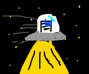 word riding a ufo