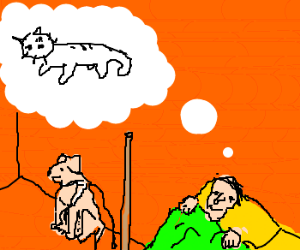 Kitty in blind man's dreams