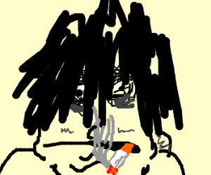 Grunge Dude smoking a cigarette