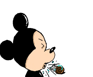 Mickey Mouse sneezes a wolfhead-eyed snail.