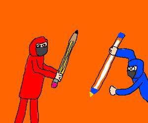 Red ninja w/pencil weapon vs. blue ninja w/pen