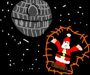 Santa escapes the Death Star in peach shield