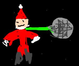 Santa in death star tractor beam