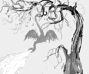 A dragon hangs from the tree