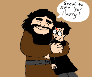 Rubeus Hagrid is thrilled to see Harry.