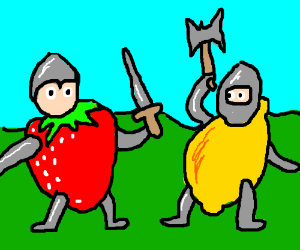 Wearing giant fruits as armor