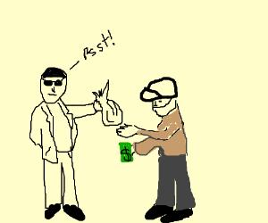 Shady white guy peddles narcotics