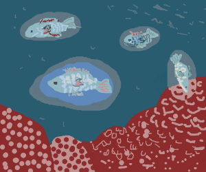Glowing fishes among a coral reef