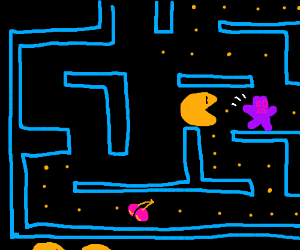 Pac man eating a sour patch kid