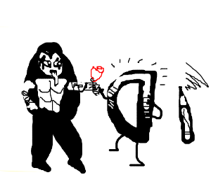 Gene Simmons gives Drawception D a rose.