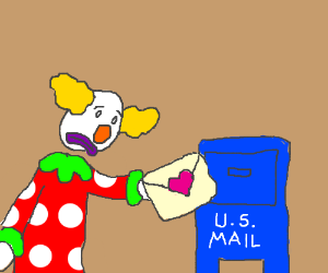 Sad clown sends love letter