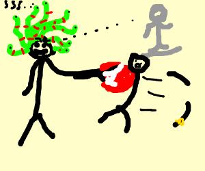 Medusa punches a man so hard his arm falls off
