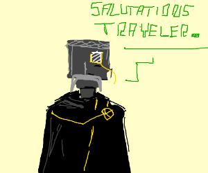 Robot man greets you