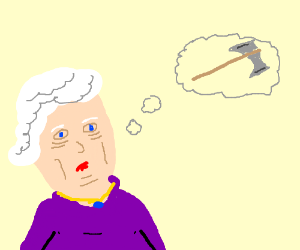 Old lady thinks about her favourite Battleaxe
