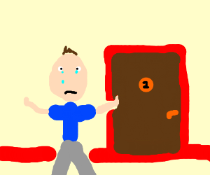 Crying man protects his apartment