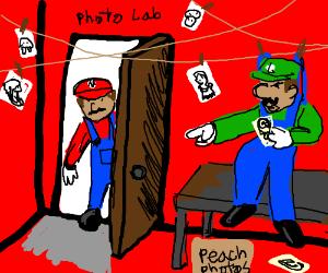 Mario discovers Luigi hanging on a dark room
