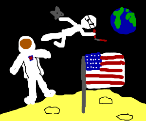 First man on moon attacked by astronaut ninja