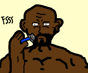 black guy is about to shave
