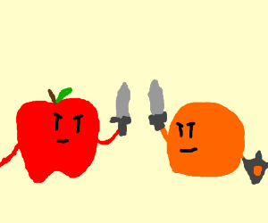 Swordfight: Apple knight vs. orange knight!