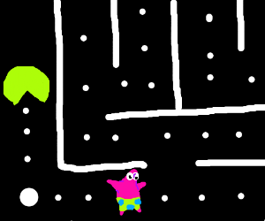 PAC-MAN is chasing after Patrick!