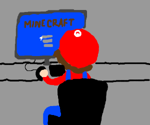 Mario playing Minecraft