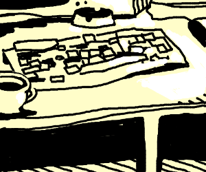 Baldy drawn keyboard