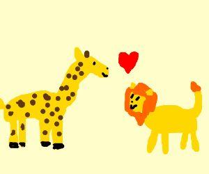 A giraffe in love with a lion