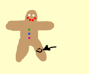 Gingerbread man has a smiley knee
