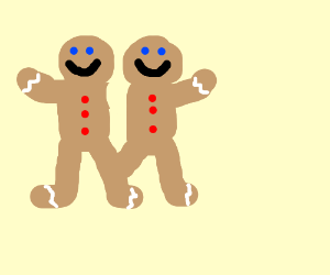 Gingerbread man's conjoined twin at knee