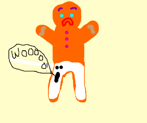Gingerbread Man wears haunted pants