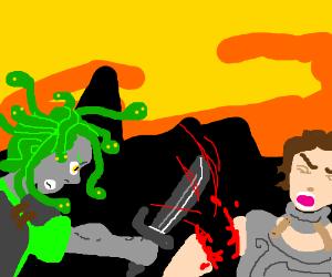 Warrior Medusa chops man's arm off