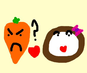 carrot is angry; he can't find a coconut lover