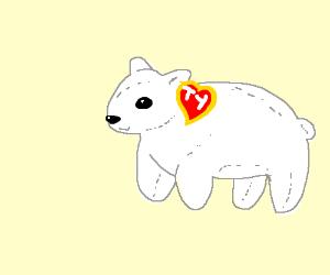 A polar bear Beanie Baby in a corner.