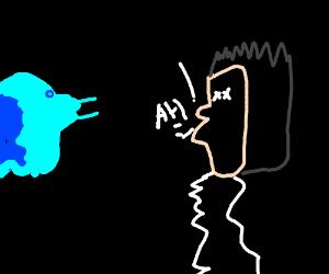 Deformed guy screams after seeing a blue ghost