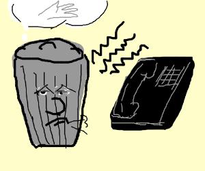 rubbish bin needs hands to pick up phone