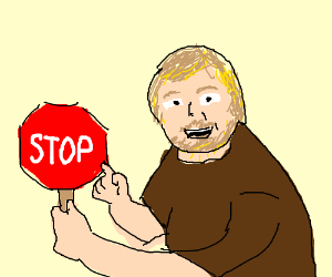 Man points at stop sign