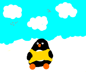 Penguin wearing a yellow tee