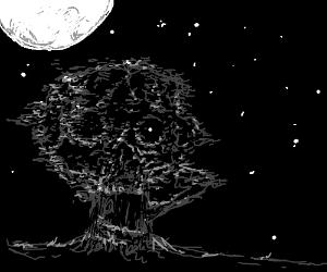 death tree under the moon light