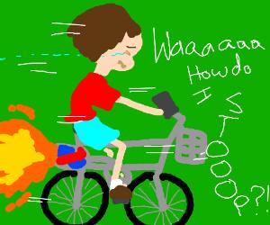 Crying kid on a rocket bike.