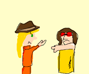 Chick w/ cowboy hat-chick w/ red glasses fight