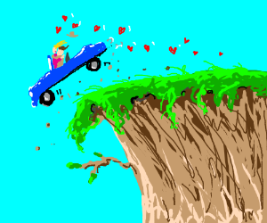 Don't kiss and drive (off a cliff), kids!