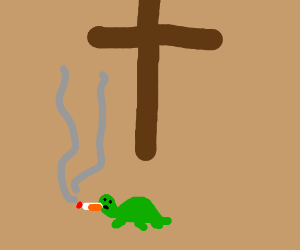 turtle smokes under a cross