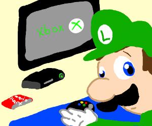 Luigi would rather play x-box than Mario Cart