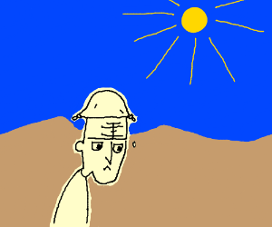 guy is lost in the desert