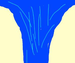 The waterfall is shrinking horizontally!
