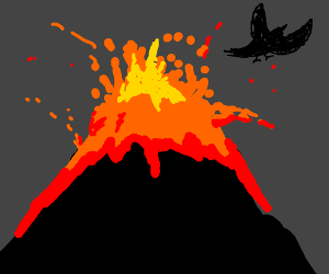 Volcano with a black bird